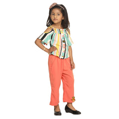 Multicolored Cold Shouldered Top With Pant