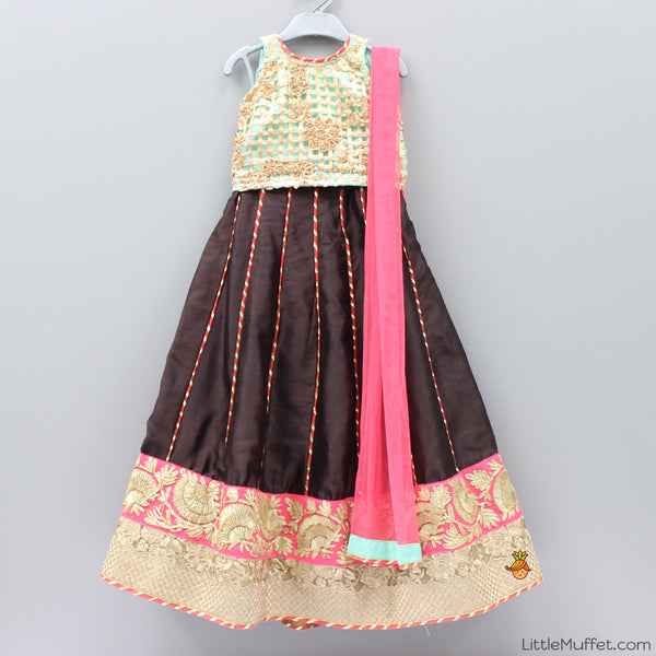Pre Order: Brown and Green Ghagra Choli