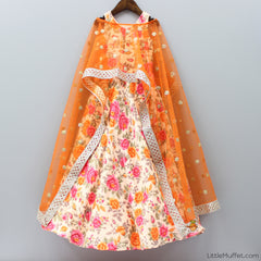 Pre Order: Printed Orange Gown