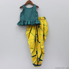 Pre Order: Green And Yellow Dhoti Set