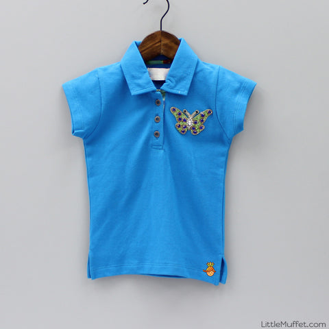 Pre Order: Blue Top With Butterfly