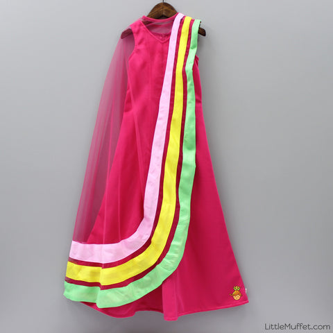 Pre Order: Pink Scuba Gown With Cape