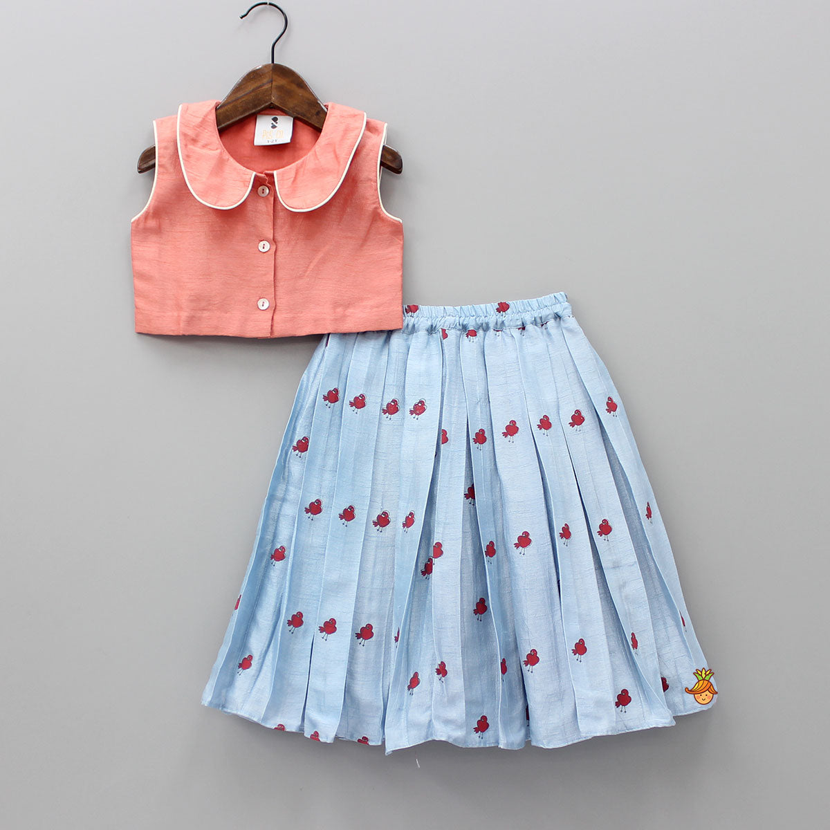 Pre Order: Peach Crop Top With Blue Skirt