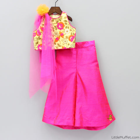 Pre Order: Yellow And Pink Palazzo Set