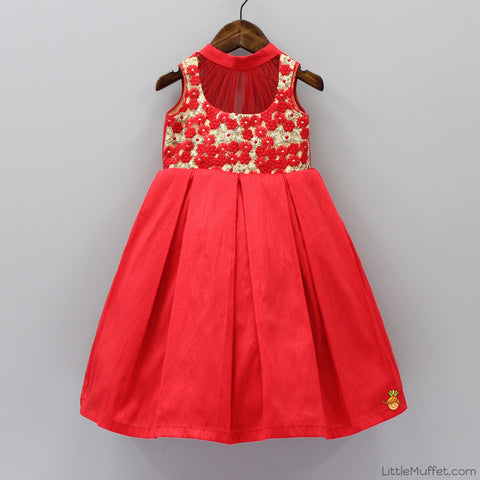 Pre Order: Embroidered Red Gown
