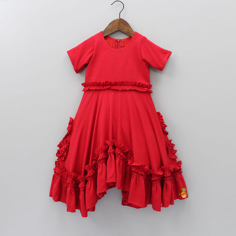 Pre Order: Red Asymmetric Frilly Gown