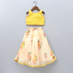 Pre Order: Yellow Top And Floral Print Lehenga With Scarf