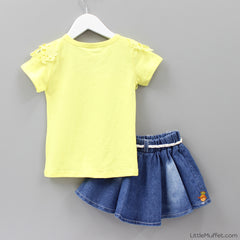 Yellow Top Denim Skirt Set