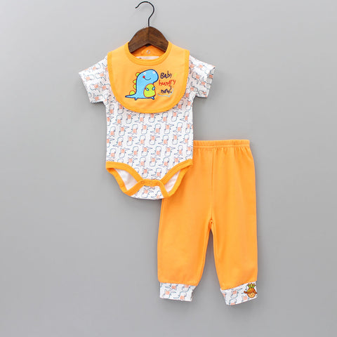 Hungry Dino 3 Piece Bodysuit Set