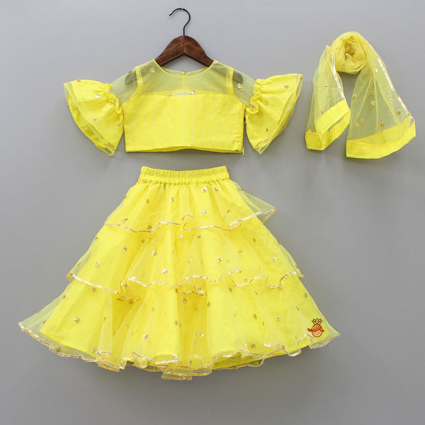 Yellow Checks Top And Lehenga With Dupatta