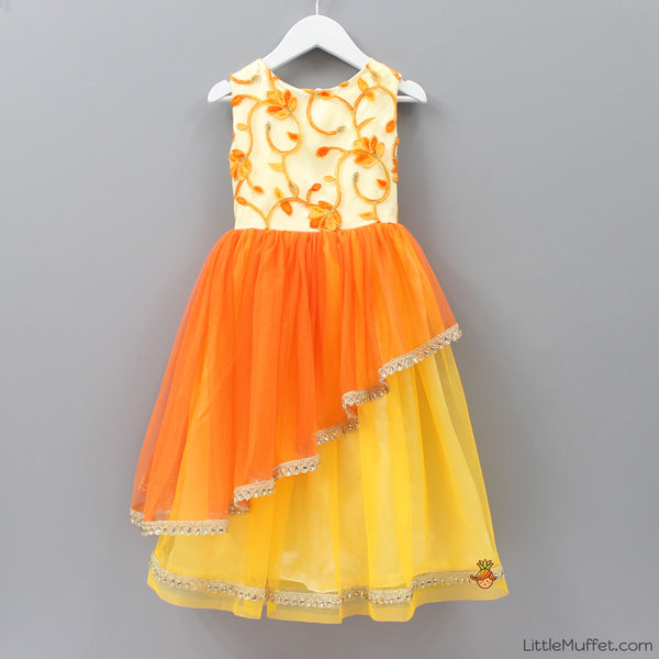 Pre Order: Orange Layered Gown