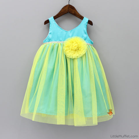Pre Order: Angel Party Dress - Turquoise And Yellow