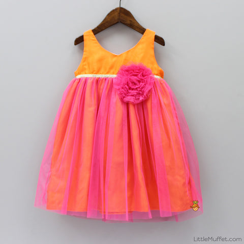 Pre Order: Angel Party Dress - Orange And Pink