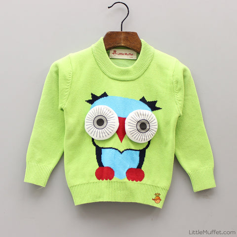 Owl Sweater With 3D Eyes - Green