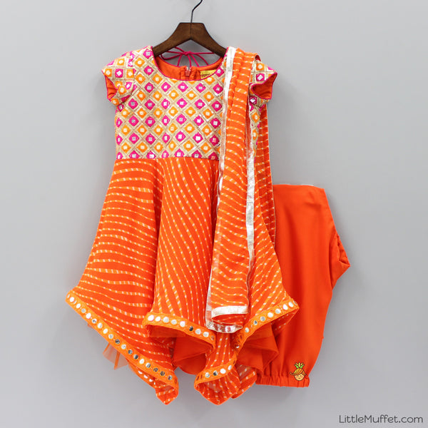 Pre Order: Orange Lehariya With Churidar