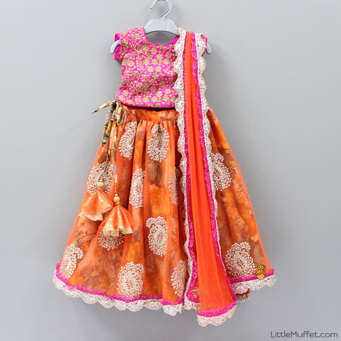 Pre Order: Orange And Pink Printed Lehenga