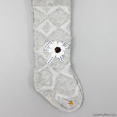 Flower and Bow Stockings - Grey