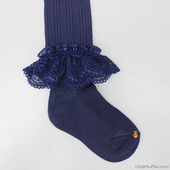 Frilly Stockings - Navy Blue