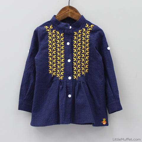 Embroidered Top - Navy Blue