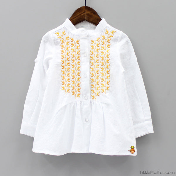 Embroidered Top - White