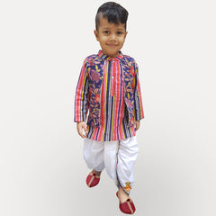 Floral Print Jacket Attached Kurta And Dhoti With Mask