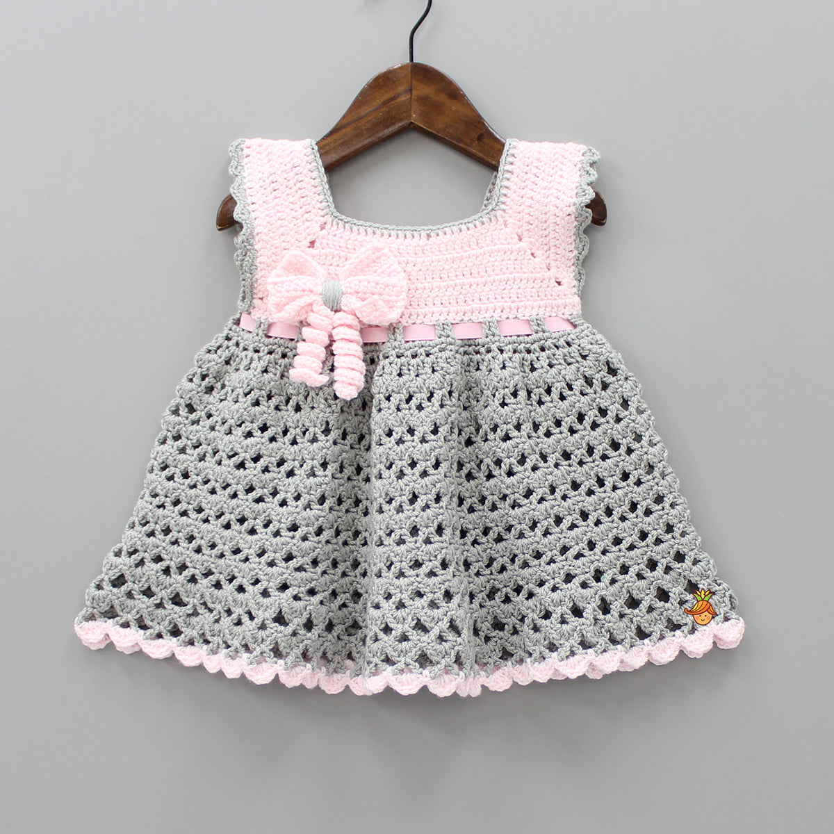 Pink And Grey Crochet Dress