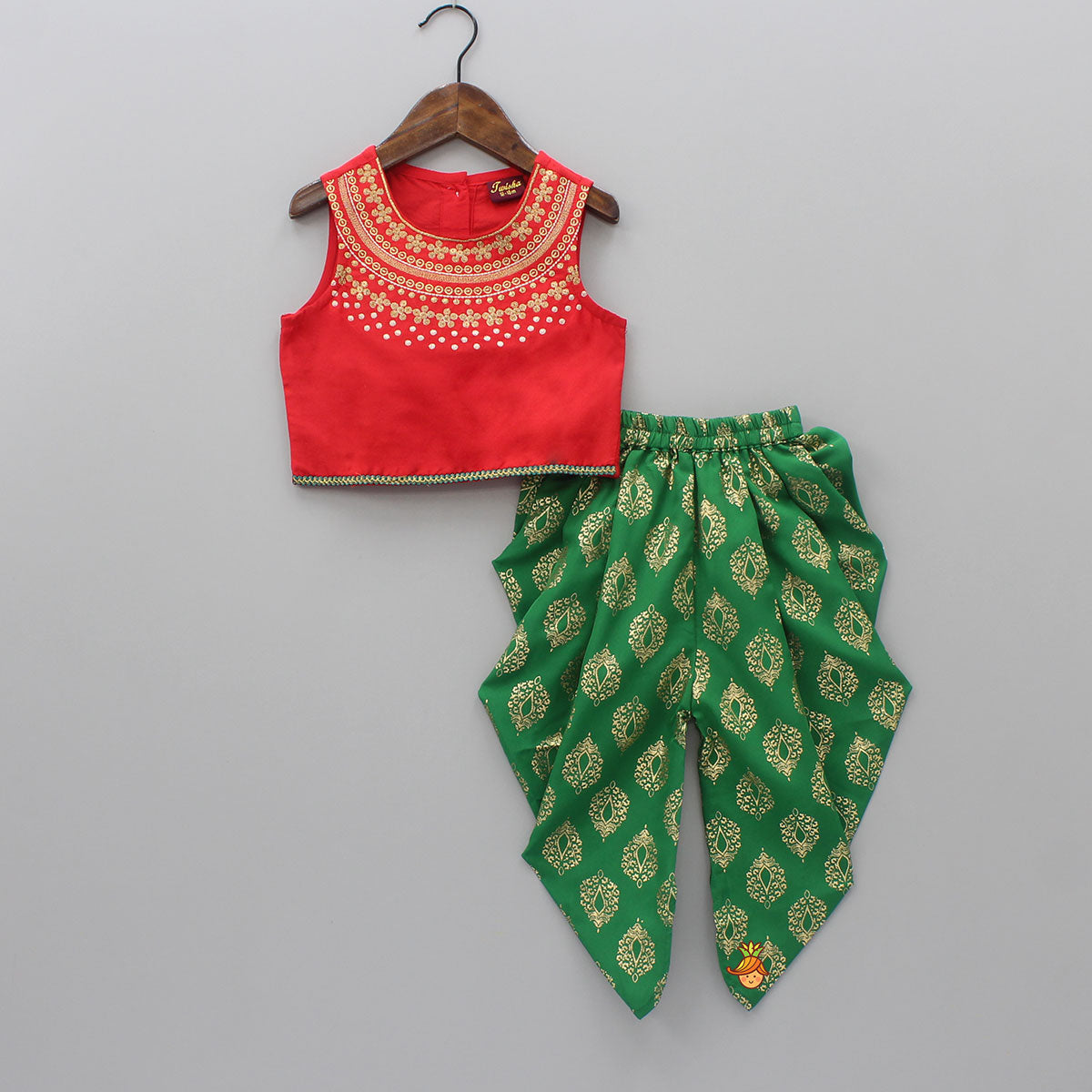 Red Top And Green Dhoti Set