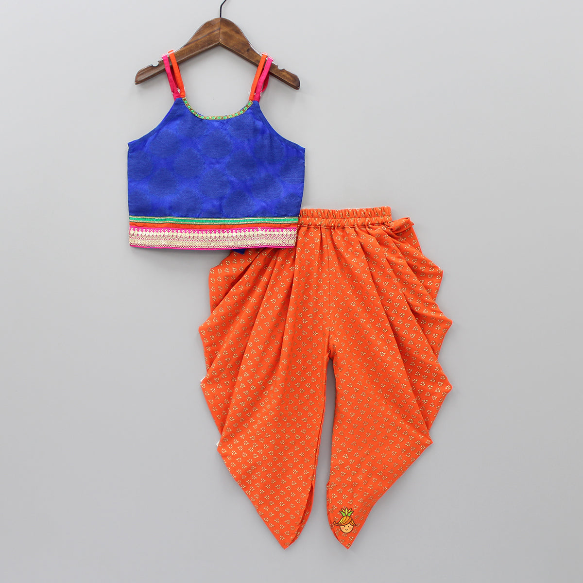 Dark Blue Top And Orange Dhoti