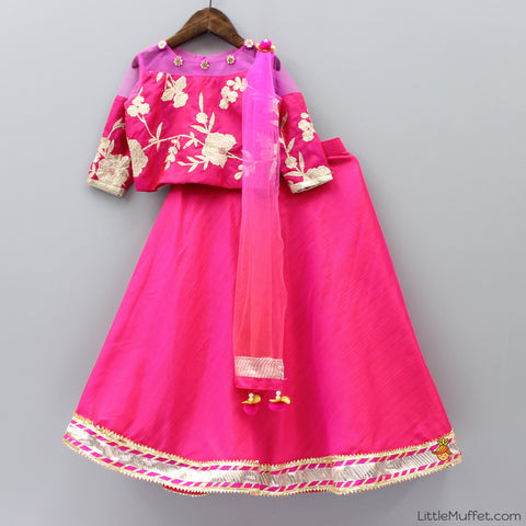Pre Order: Hot Pink Lehenga With Short Blouse