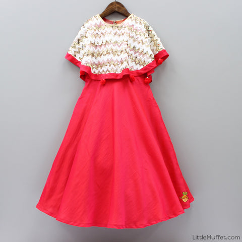 Pre Order: Red Gown With Cape