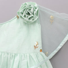 Pre Order: One-Shoulder Light Green Cape Dress