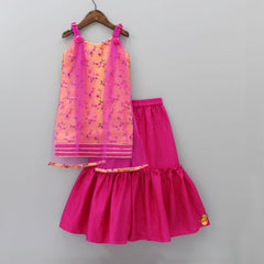 Pre Order: Orange And Pink Sharara Set