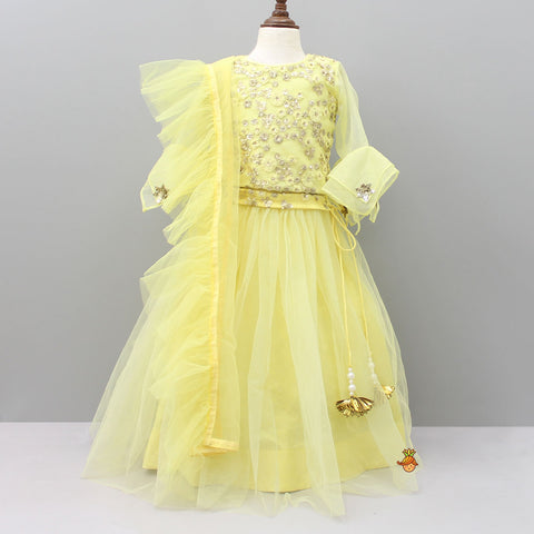 Pre Order: Yellow Embroidered Top And Lehenga Set