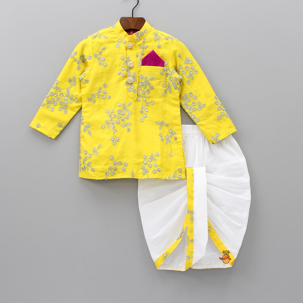 Pre Order: Yellow Embroidered Kurta And White Dhoti