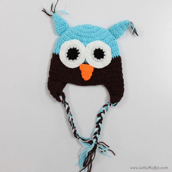 Owl Cap- Blue & Brown