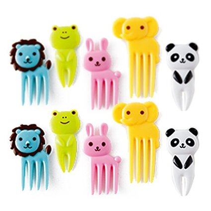 10-Piece Bento Decoration Box, Animals Food Picks and Forks