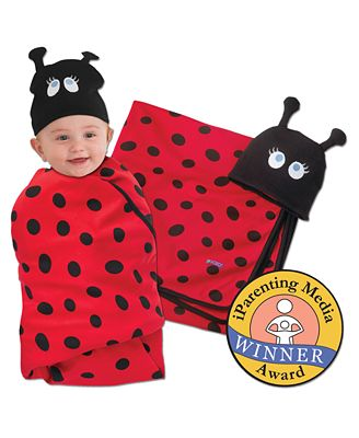 Lady Bug Swaddle and  Cap Set
