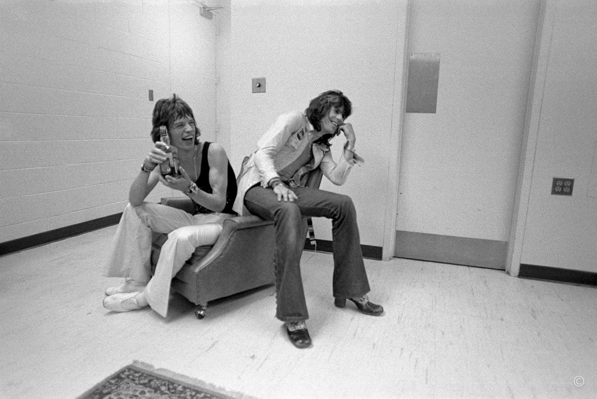 "Keith Richards and Mick Jagger ""Laugh"" 1972"