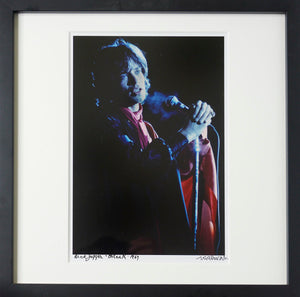 Framed, signed and titled 8x10 photograph of Mick Jagger onstage, Ft. Lauderdale 1969. (One only)