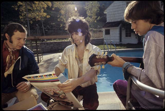 Keith Richards and Mick Jagger Examine the Let It Bleed Cover Proof 1969