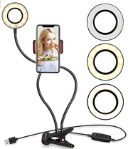 UBeesize Selfie Ring Light with Clip, Best Dimmable LED Lighting for Diva Makeup Artist