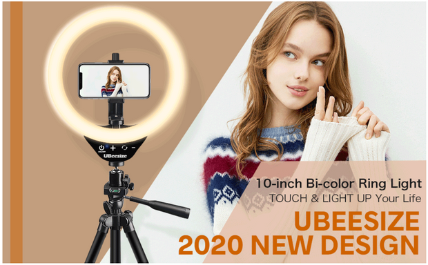 UBeesize 10'' LED Ring Light with Stand and Phone Holder, Selfie Halo Light for Photography/Makeup/Vlogging/Live Streaming, Compatible with Phones and Cameras (2021 Version)