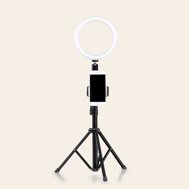 UBeesize 8 inches Selfie Ring Light with Tripod Stand, Best Dimmable LED Lighting for Diva Makeup Artist