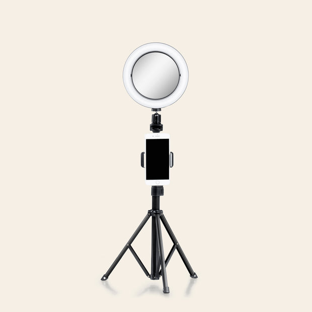 "8"" Selfie Ring Light with Makeup Mirror And Tripod Stand & Cell Phone Holder & Smartphone Remote for Live Stream/YouTube"