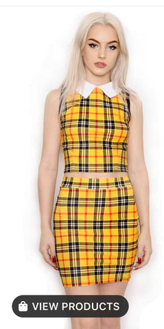Yellow Plaid Two Piece