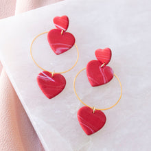 Load image into Gallery viewer, Heart Hoop Dangle