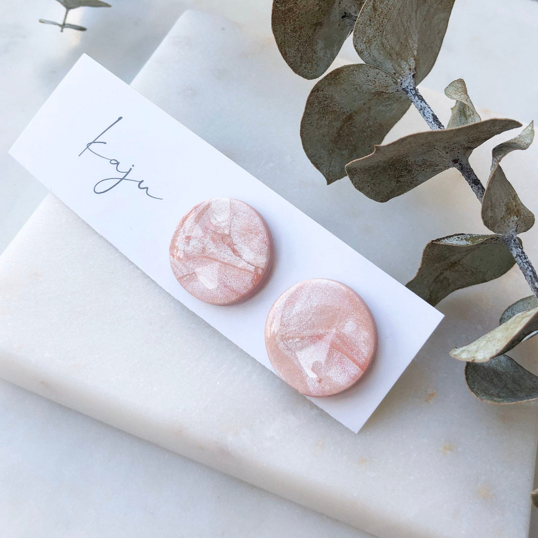 20mm Marbled Pink Studs