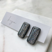 Load image into Gallery viewer, Silver Glitter Bar Stud