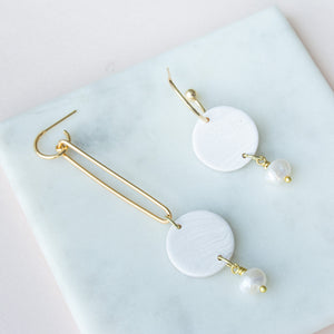 Mismatched Pearl Hoops