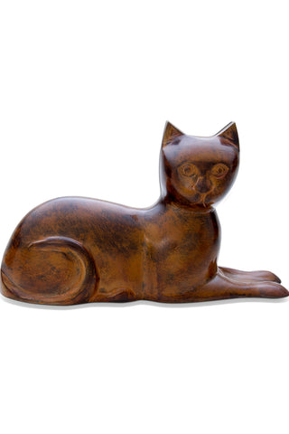Cat Laying Urn - Brown
